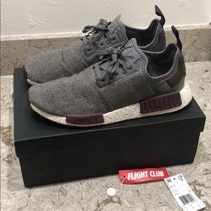 Adidas nmd wool grey/maroon size 10